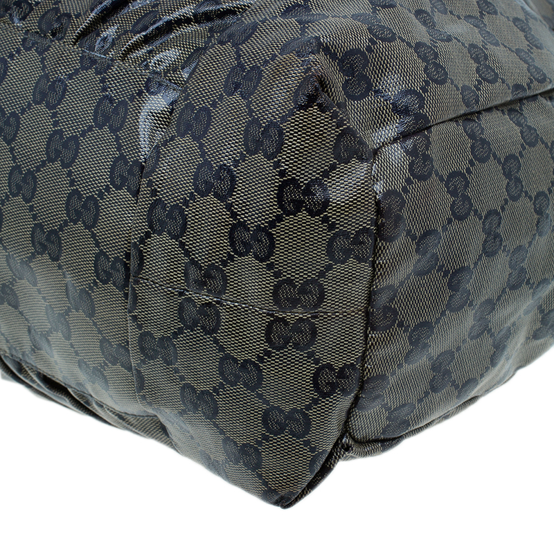 Gucci Blue GG Crystal Canvas Hysteria Medium Hobo