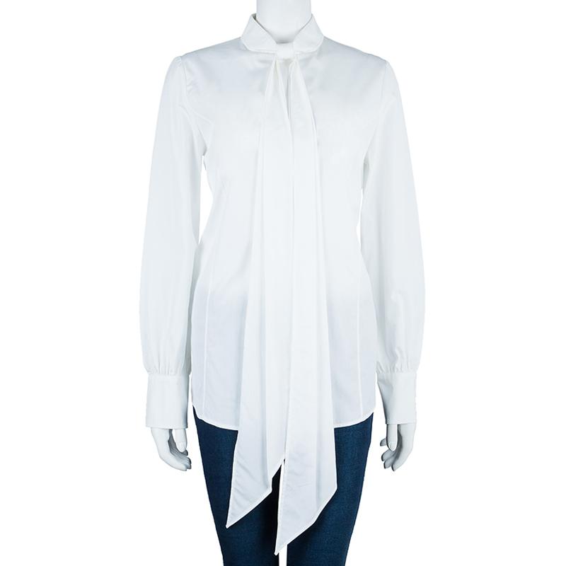 Saint Laurent Paris White Cotton Long Sleeve Shirt M