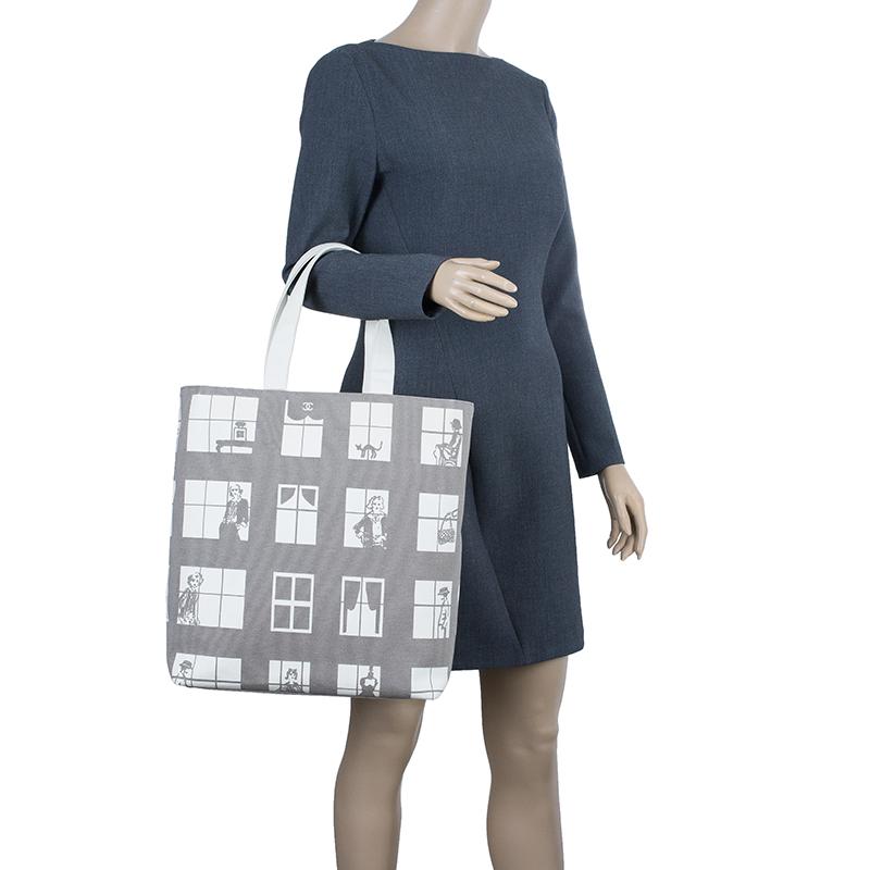 Chanel Grey Canvas Coco Window Tote
