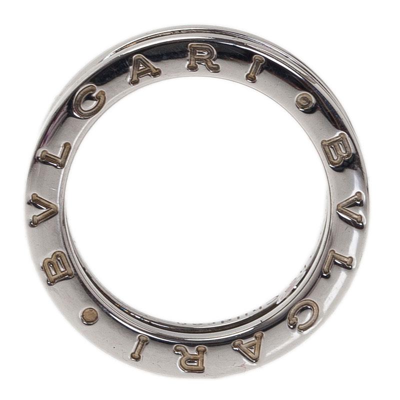 Bvlgari Save The Children Black Ceramic Silver Ring Size 50