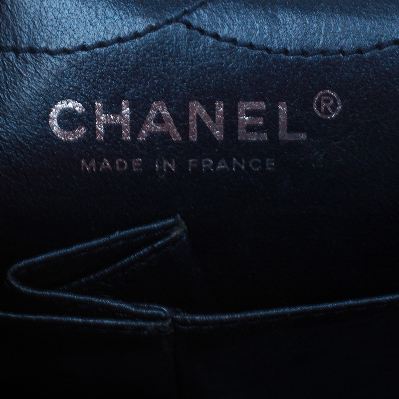 Chanel Metallic Navy Blue Quilted Crackled Leather Reissue 2.55 Classic 226 Flap Bag