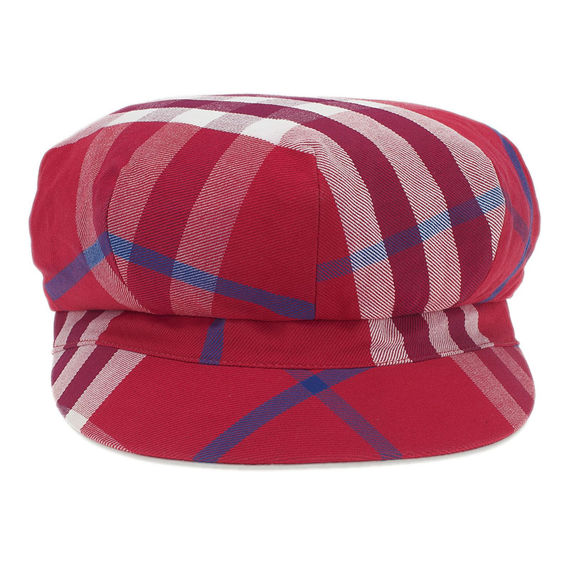 Burberry Red Cotton Novacheck Newsboy Cap Size L