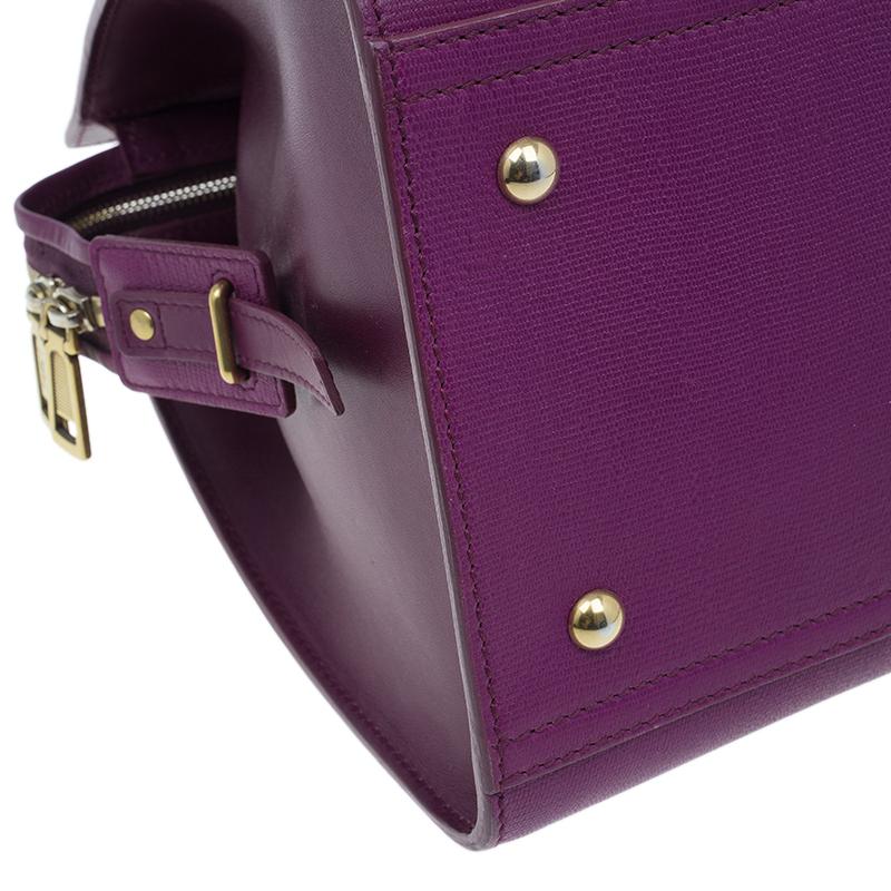 Saint Laurent Paris Purple Leather Medium Cabas Chyc Satchel