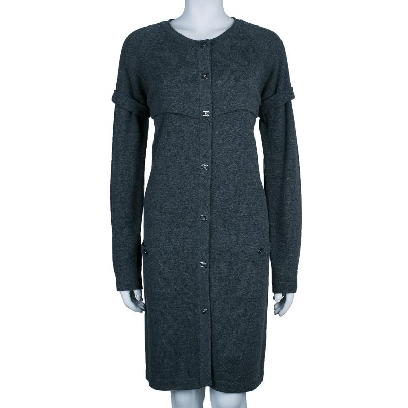 Chanel Grey Long Knit Cardigan M