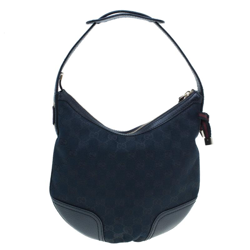 Gucci Black Monogram Canvas Guccissima Princy Hobo Bag