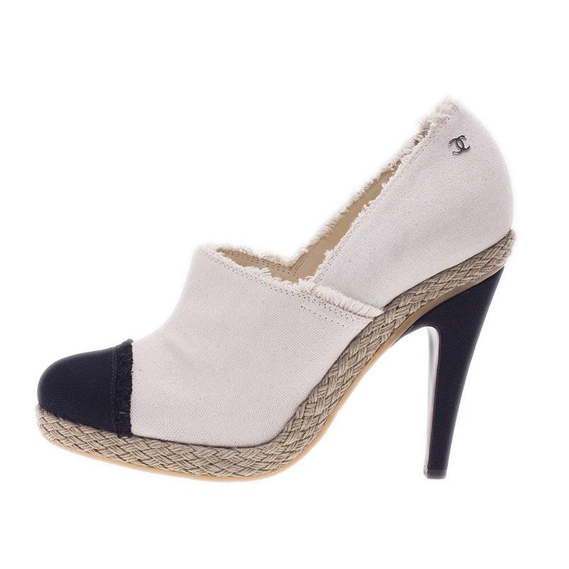 Chanel Black and White Canvas Cap Toe Espadrilles Clogs Size 41