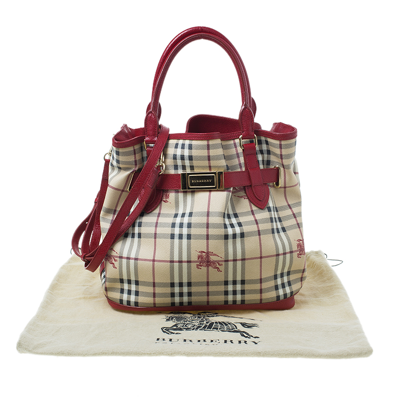 Burberry Beige/Red Haymarket Check Medium Goldertone Tote Bag