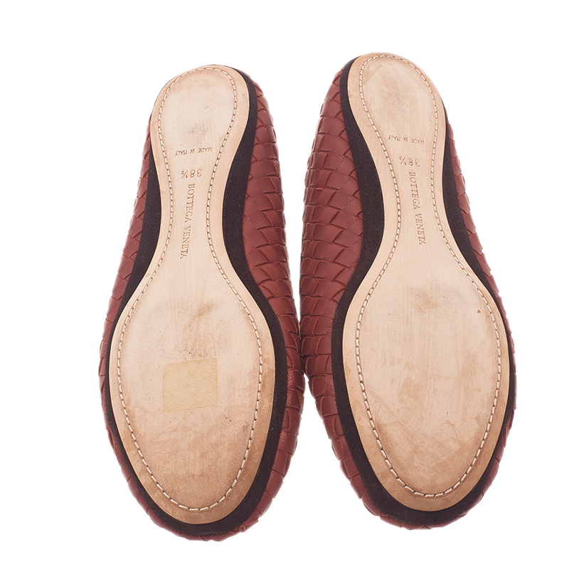 Bottega Veneta Brown Intrecciato Leather Carpet Slippers Size 38.5