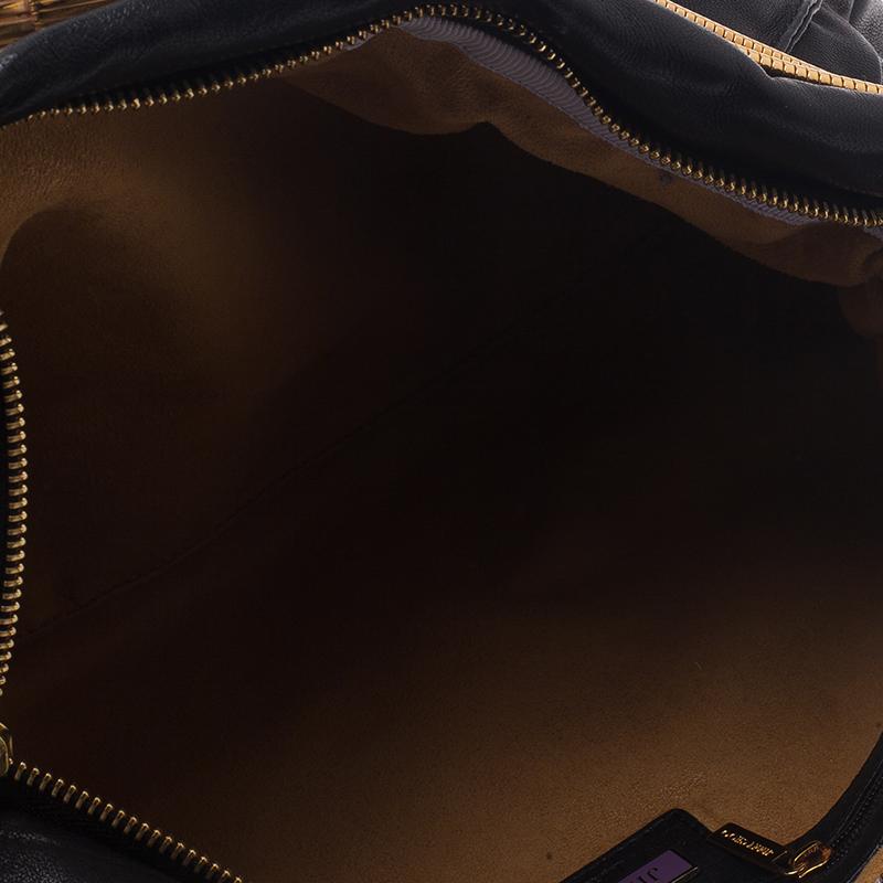 Jimmy Choo Black Leather Oversized Chain Zip Clutch