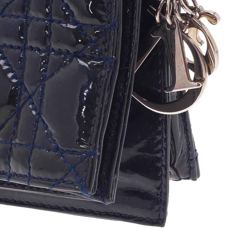 Dior Navy Blue Cannage Leather Folded Clutch