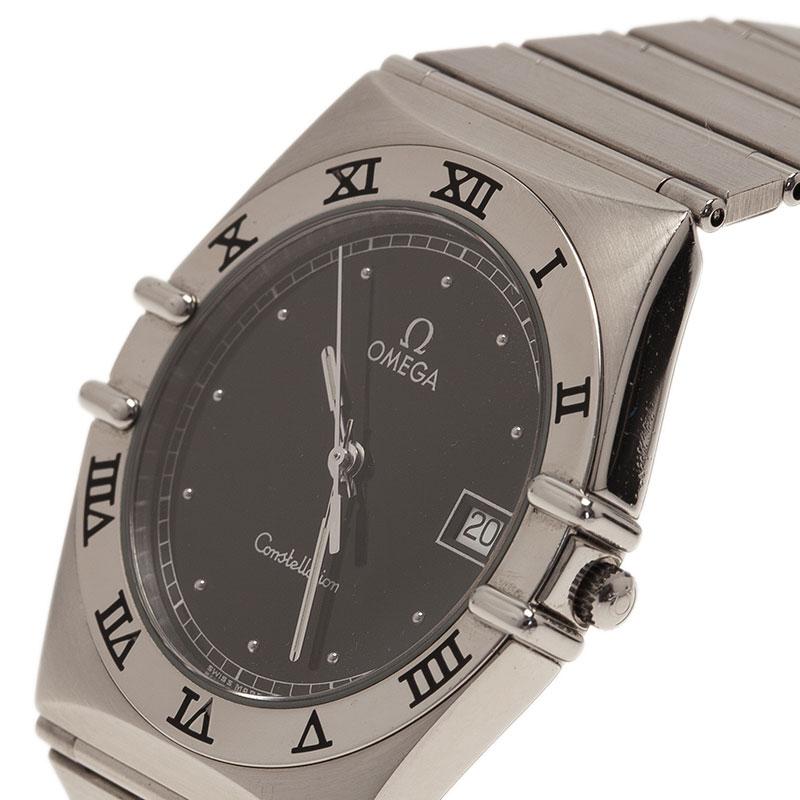 Omega Black Stainless Steel Constellation Women's Wristwatch 33MM