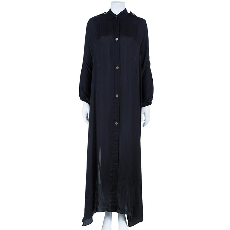 Lanvin Black Button Down Maxi Shirt Dress OS