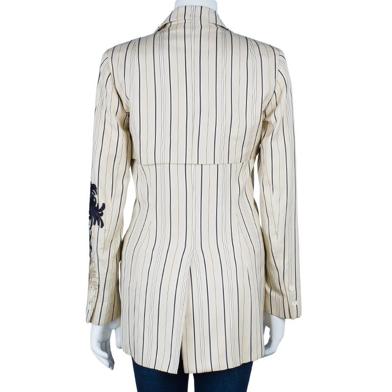 Dior White Silk Cotton Stripe Embroidered Blazer M