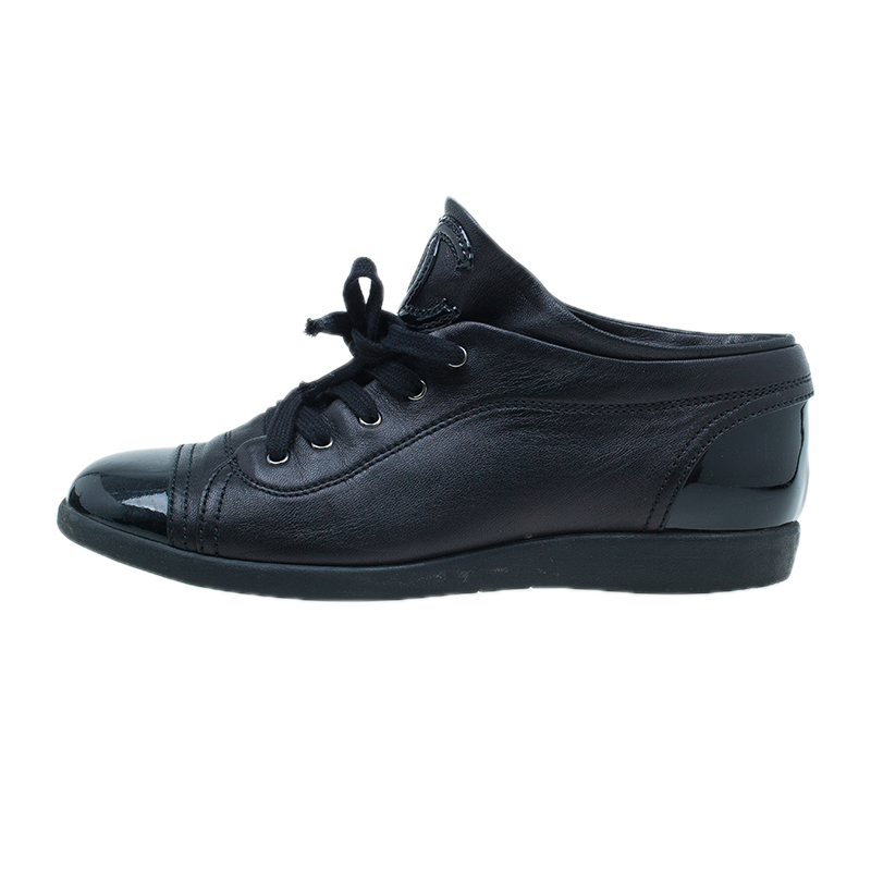 Chanel Black Patent Leather CC Sneakers Size 37.5