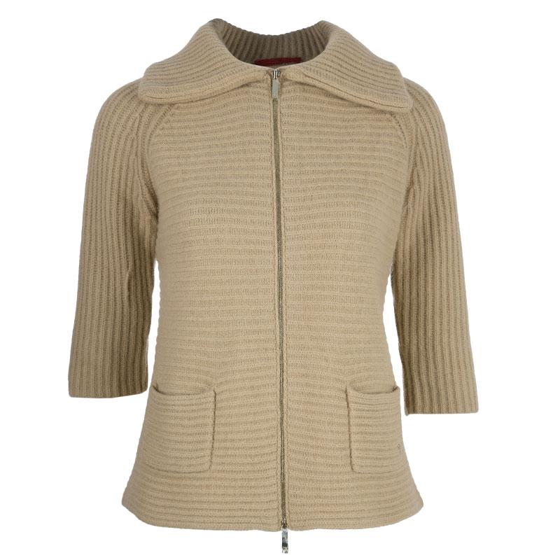 CH Carolina Herrera Beige Wool Fox Fur Cardigan XS
