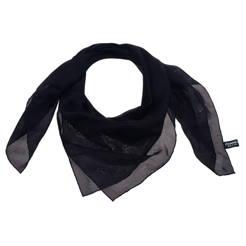 Chanel Black Chiffon Square Scarf