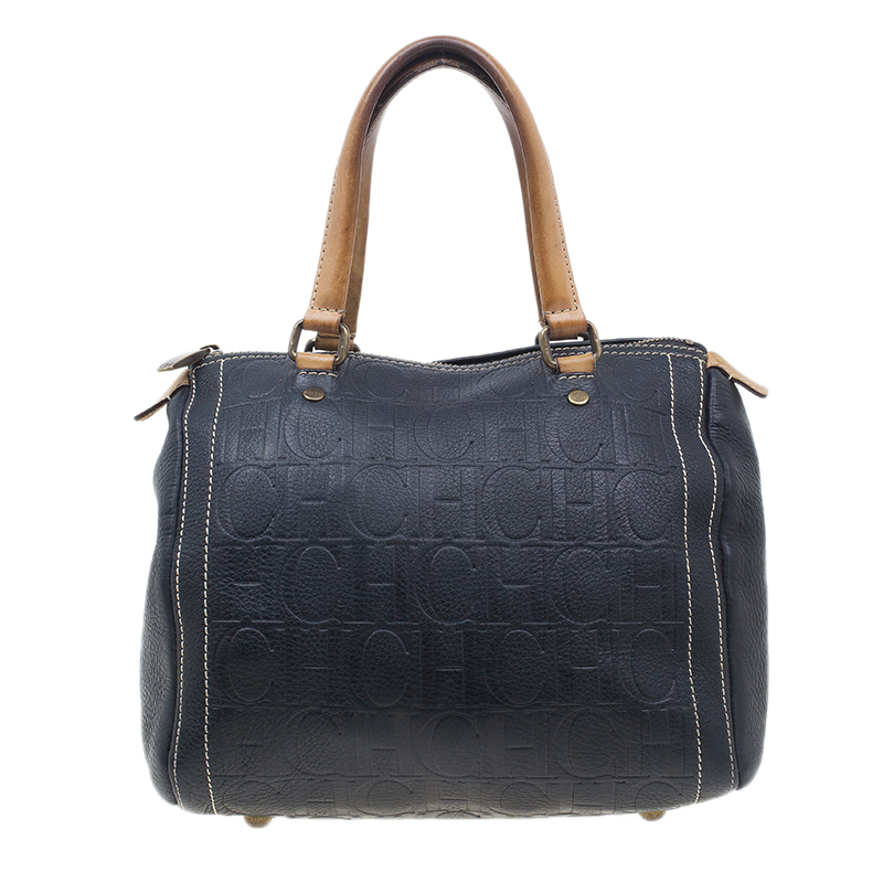 Carolina Herrera Black Leather Andy Boston Bag