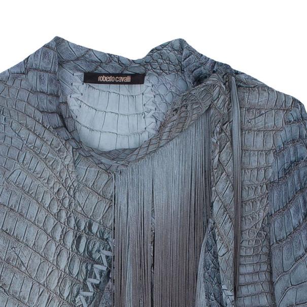 Roberto Cavalli Fringe Detail Chiffon Shirt M