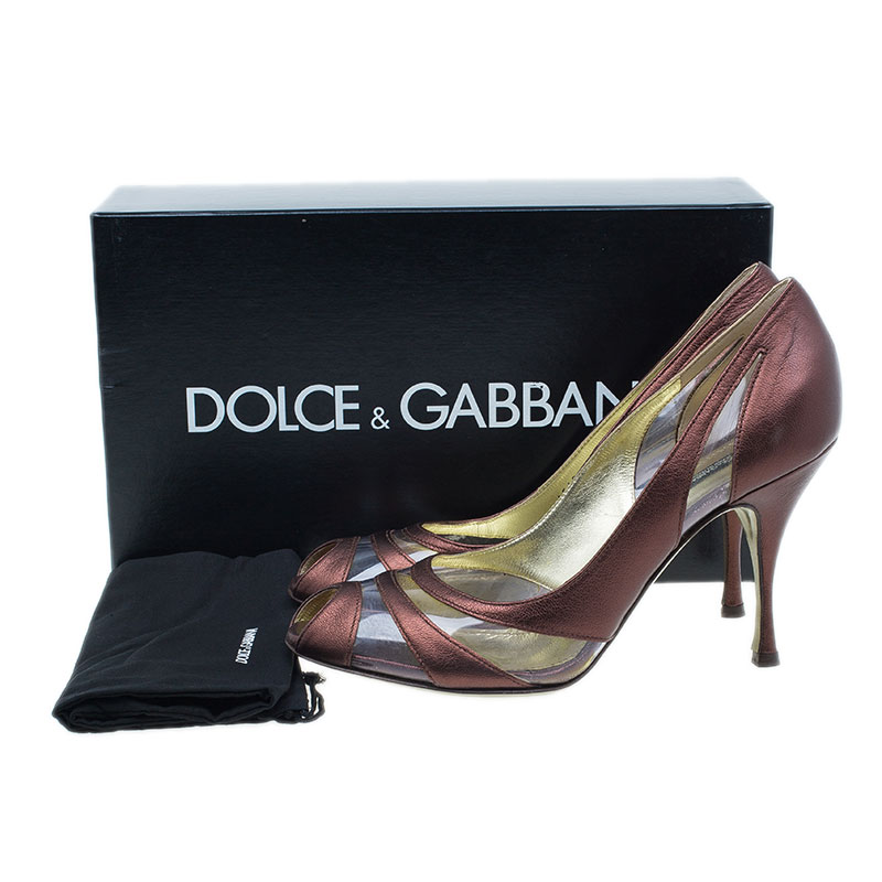 Dolce and Gabbana Red Leather and PVC Peep Toe Pumps Size 40