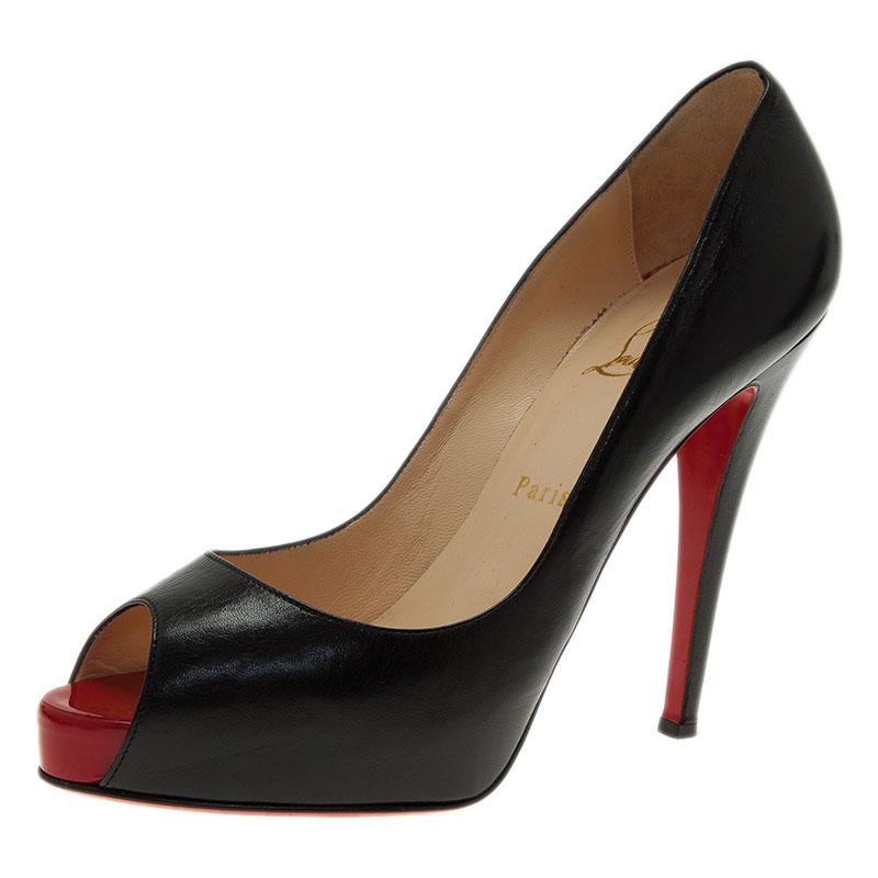 Christian Louboutin Black Leather Very Prive Peep Toe Pumps Size 39.5