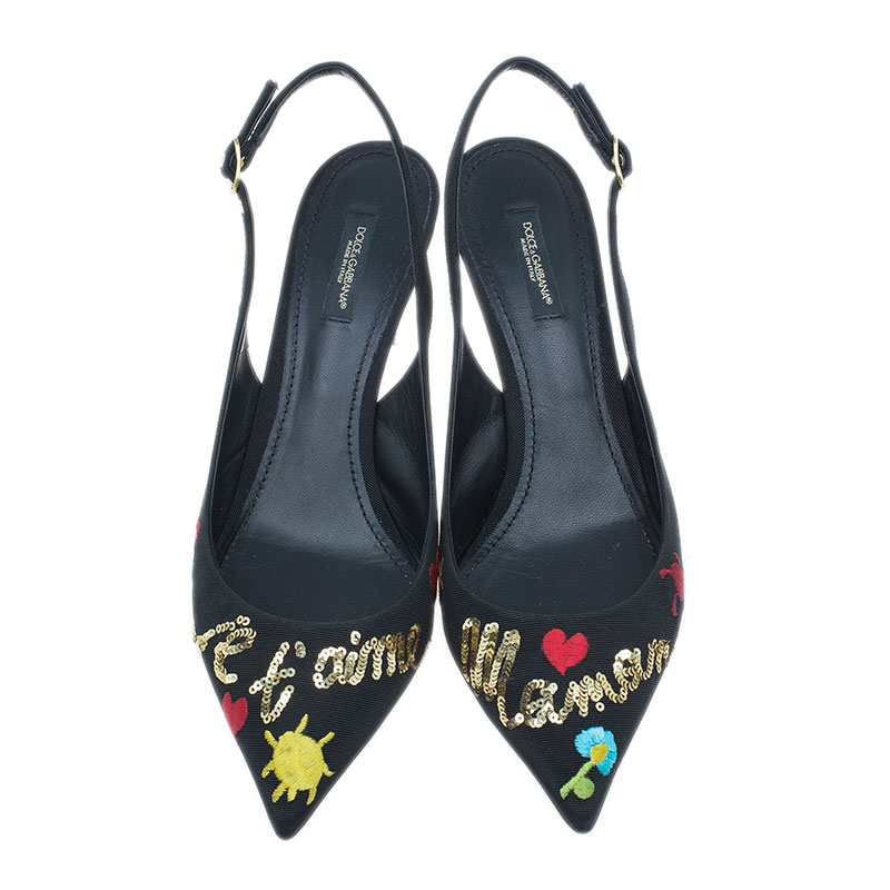 Dolce and Gabbana Black Je Taime Maman Sequined Grosgrain Slingback Sandals Size 40