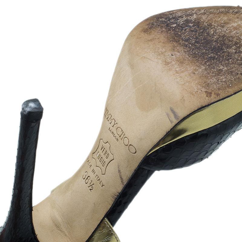 Jimmy Choo Black Elaphe Slingback Sandals Size 36.5