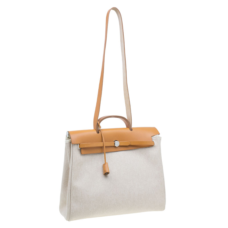 Hermes Tan Leather and Beige Toile Canvas Large Herbag