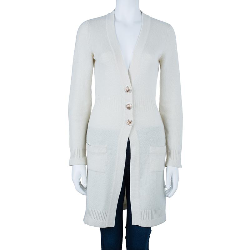 Chanel White Cashmere Cardigan S