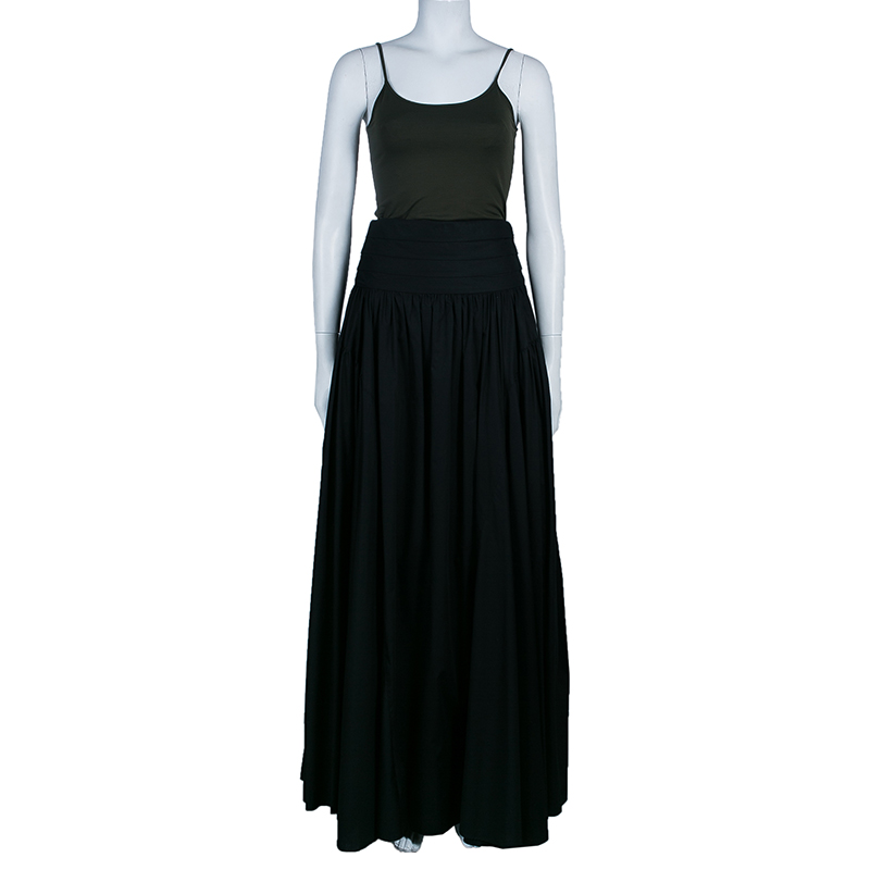 Kenzo Black Gathered Maxi Skirt M