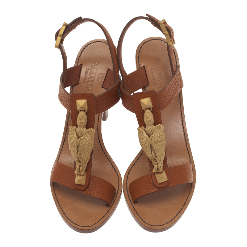 Valentino Brown Leather Gryphon T Strap Sandals Size 37