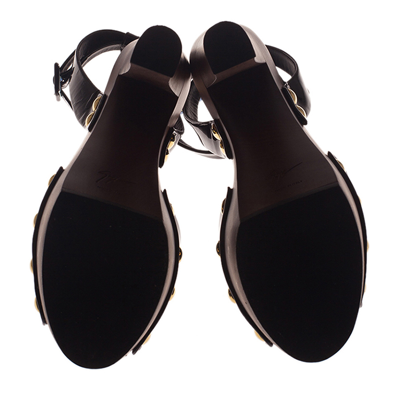 Giuseppe Zanotti Black Patent Ankle Strap Platform Sandals Size 38