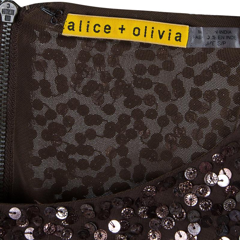 Alice + Olivia Preston Brown Sequin Dress S