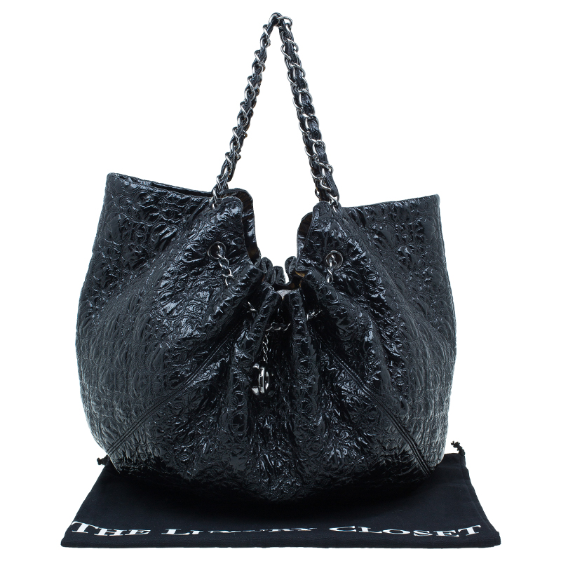 Chanel Black Patent Leather Rock In Moscow Cabas Hobo Bag
