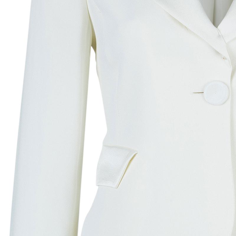 Emporio Armani White Silk Blazer S