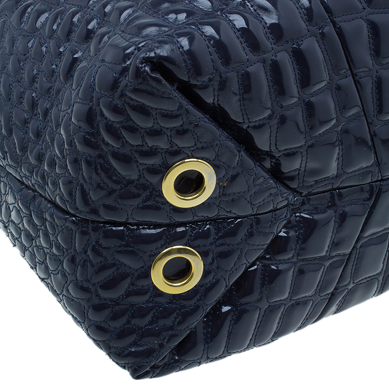 Carolina Herrera Navy Blue Croc Embossed Patent Leather Tote