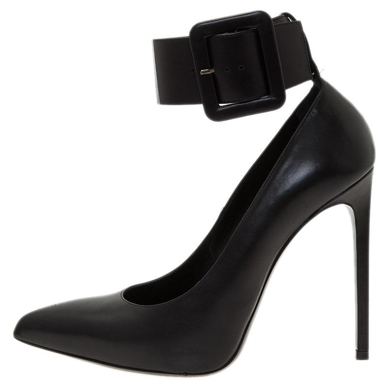 Saint Laurent Paris Black Leather Escarpin Ankle Strap Pumps Size 40