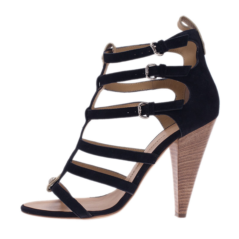 Giuseppe Zanotti Black Suede Strappy Gladiator Sandals Size 40.5