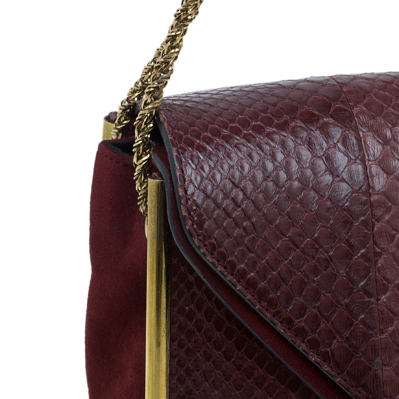 Chloe Burgundy Python Medium Sally Shoulder Bag
