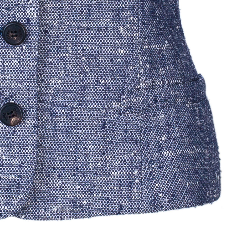 Dior Blue Sleeveless Bow Textured Jacket M