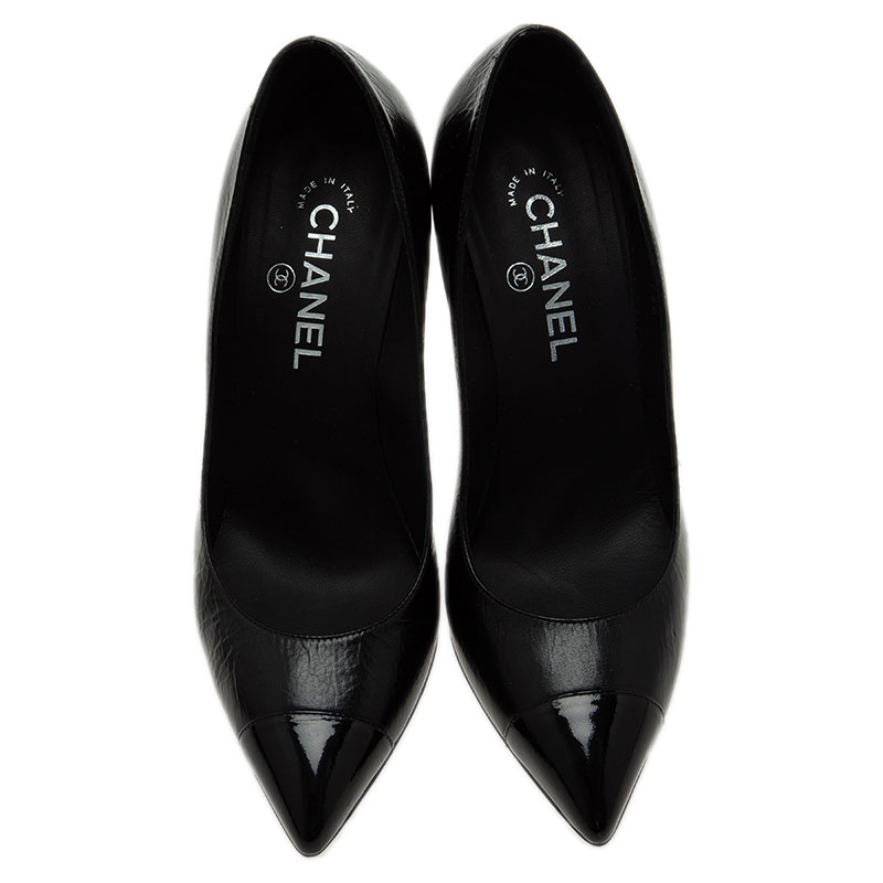 Chanel Black Leather Diamond Knotted Pointed Toe Pumps Size 39.5