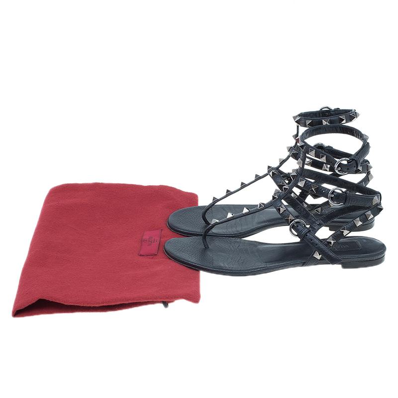 Valentino Black Leather Rockstud Thong Gladiator Sandals Size 37