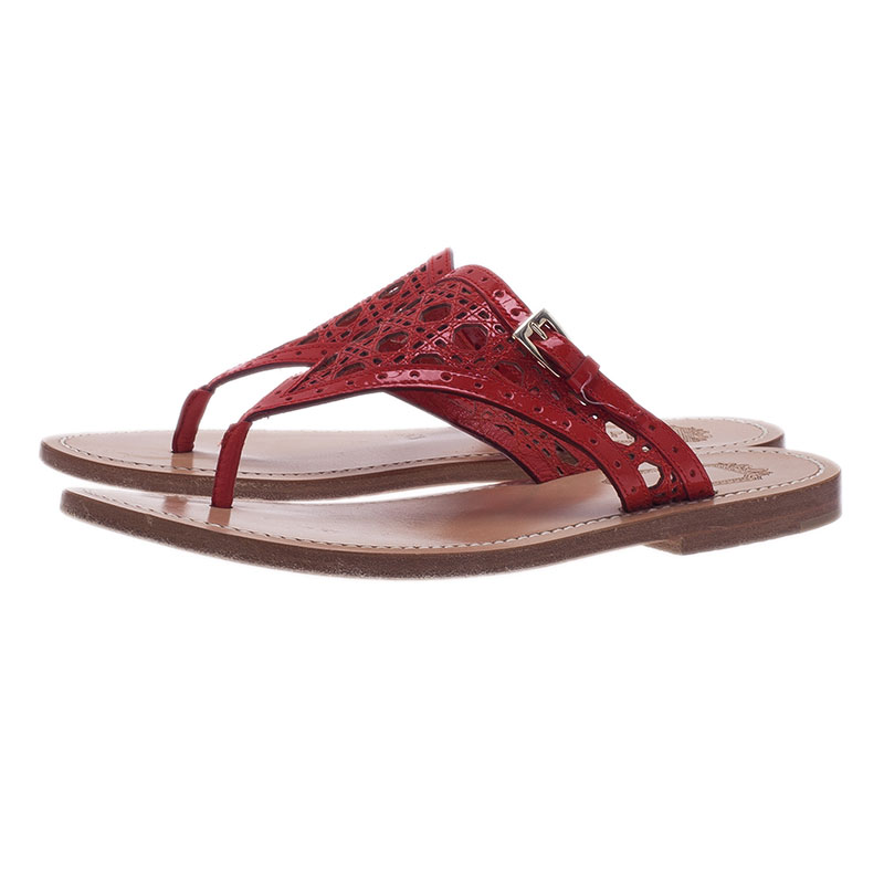 Dior Red Patent Cannage Leather Thong Sandals Size 36