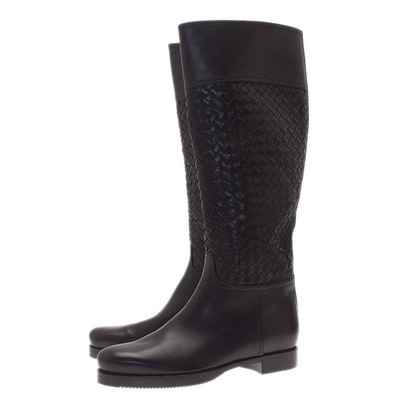 Bottega Veneta Brown Intrecciato Leather Boots Size 37