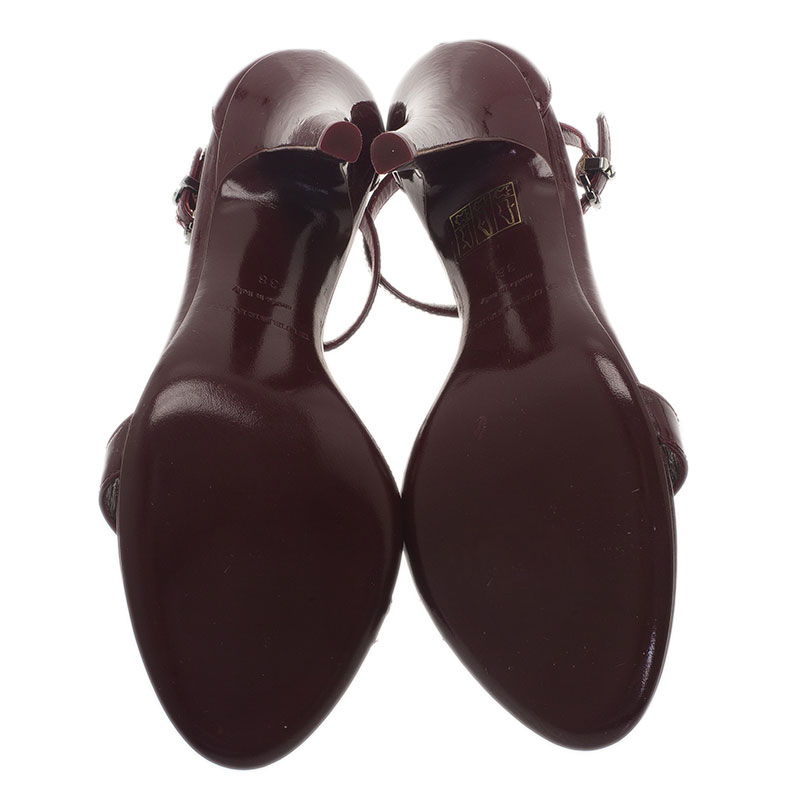 Burberry Burgundy Patent Leather Ruffle Sandals Size 38