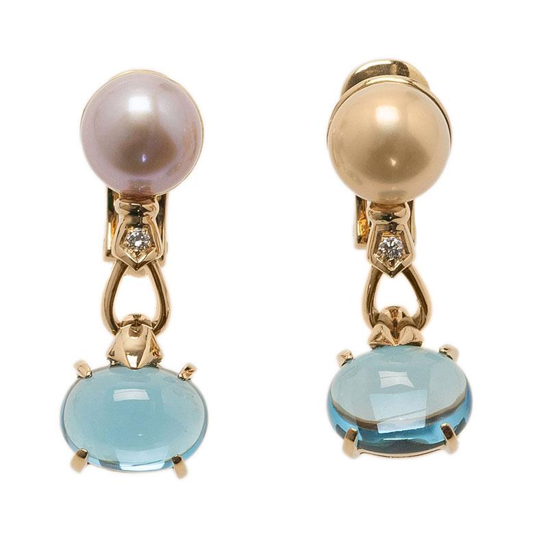 Bvlgari Allegra Akoya Pearl Diamond Blue Topaz Yellow Gold Earrings