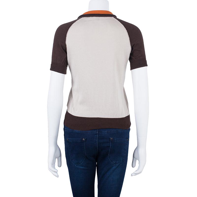 Gucci Beige Cashmere Polo Top S