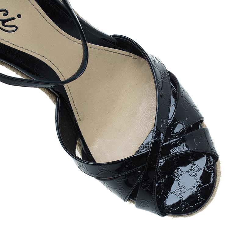 Gucci Black Patent Microguccissima Penelope Espadrille Wedges Size 38