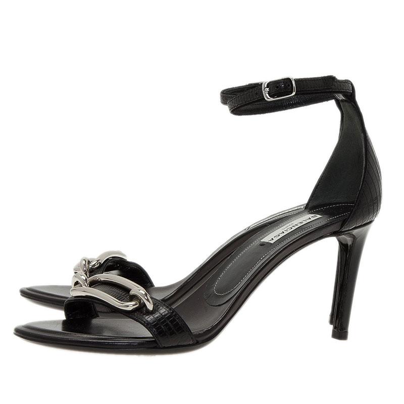 Balenciaga Black Lizard Maillon Ankle Strap Size 37
