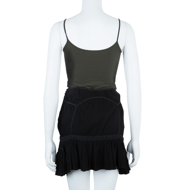 Prada Ruched Fit Flare Skirt S
