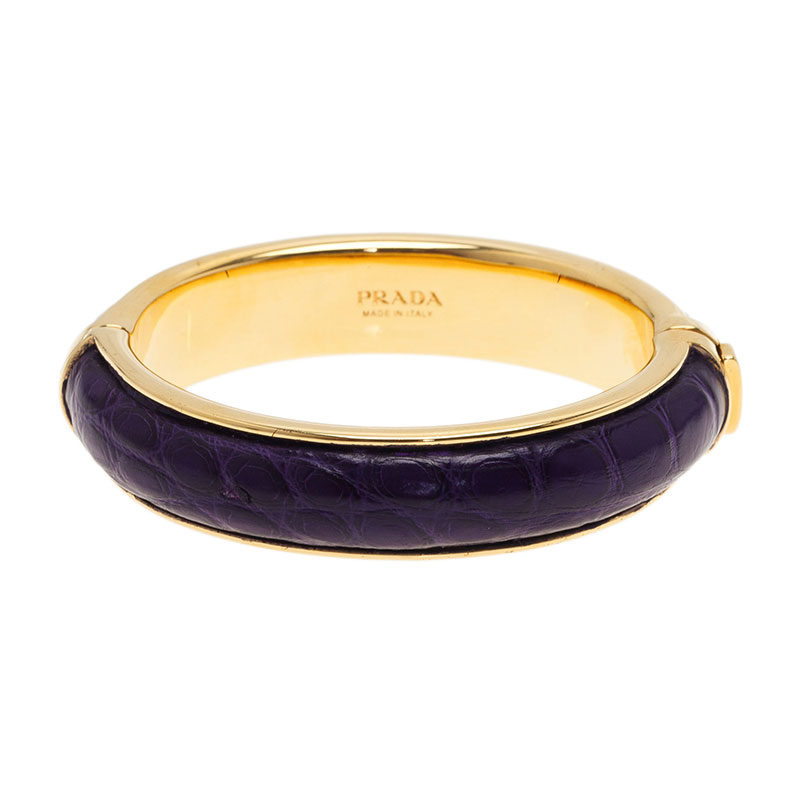 Prada Purple Leather Gold Tone Bangle Bracelet